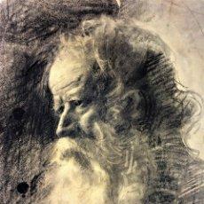 Arte: RETRATO DE ANCIANO. CARBONCILLO SOBRE PAPEL. FIRMADO BORRÁS ABELLA (VICENTE?). ESPAÑA XIX. Lote 116102615
