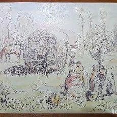 Arte: DIBUJO BOLI Y ACUARELA DE SEBASTIA CONGOST SOBRE CARTON.ESCUELA OLOT.. Lote 116236543