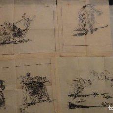 Arte: ANTIGUO CONJUNTO DE 4 DIBUJOS A TINTA SOBRE PAPEL.TEMA TAURINO.SIGLO XX. Lote 116288071