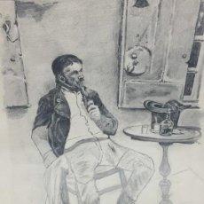 Arte: DIBUJO BOCETO A LÁPIZ HOMBRE FUMANDO EN PIPA EN UN CAFÉ LICOR CHISTERA MESA GUANTES 2ª MITAD S XIX. Lote 116319499