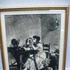 Arte: ESPECTACULAR PLUMILLA DE UNA CALIDAD EXTRAORDINARIA NIÑA JUGANDO CON GATOS. Lote 116332843