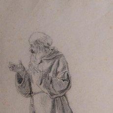 Arte: JAIME PAHISSA Y LAPORTA (1846-1928) DIBUJO AL CARBONCILLO MONJE FIRMADO. Lote 116351563