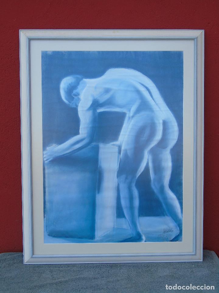 DIBUJO CON CERA. FIRMA ILEGIBLE. ENMARCADO. 80CM X 61CM (Arte - Dibujos - Contemporáneos siglo XX)
