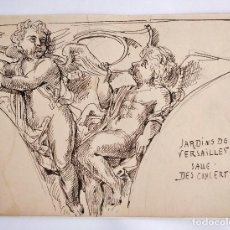 Arte: EXCELENTE DIBUJO ORIGINAL A TINTA, SIGLO XIX, CLASICISMO, FRESCO, ESCUELA FRANCESA, VERSAILLES. Lote 116566223