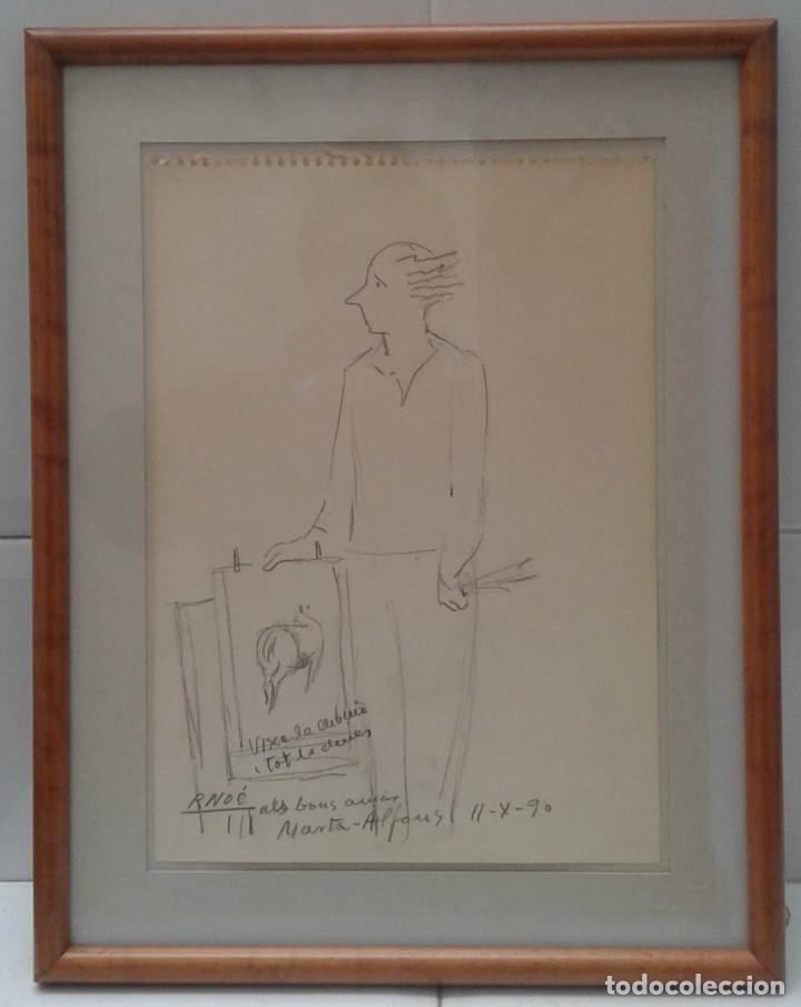 Arte: Ramón Noé Hierro (Barcelona 1923 - Sabadell 2007) auto caricatura dedicada - Foto 2 - 116788519