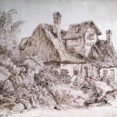 Arte: DIBUJO DE CASA EN EL CAMPO POR M ARAUJO EN 1840. Lote 116890231