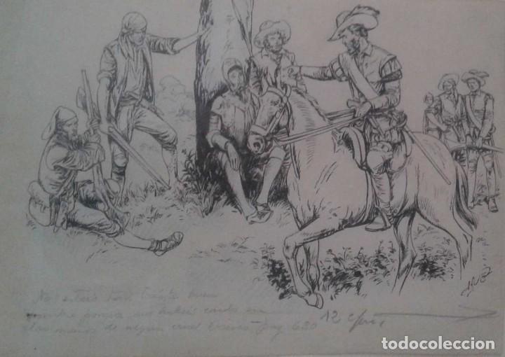 JAUME JUEZ NACIDO EN BARCELONA EN 1906,.DIBUJO DEL CAPITULO IX DEL QUIJOTE (Arte - Dibujos - Contemporáneos siglo XX)