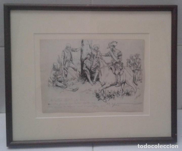 Arte: Jaume Juez nacido en Barcelona en 1906,.dibujo del capitulo IX del Quijote - Foto 2 - 116902679