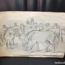 Arte: DIEGO MULLOR DIBUJO LÁPIZ FIRMADO Y FECHADO ESCENA COSTUMBRISTA. Lote 117065107