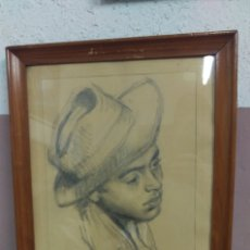 Arte: LUIS MORATÓ GUERRERO (BARCELONA 1903 - 1963) DIBUJO AL CARBÓN RETRATO CON DEDICATORIA. Lote 117215284