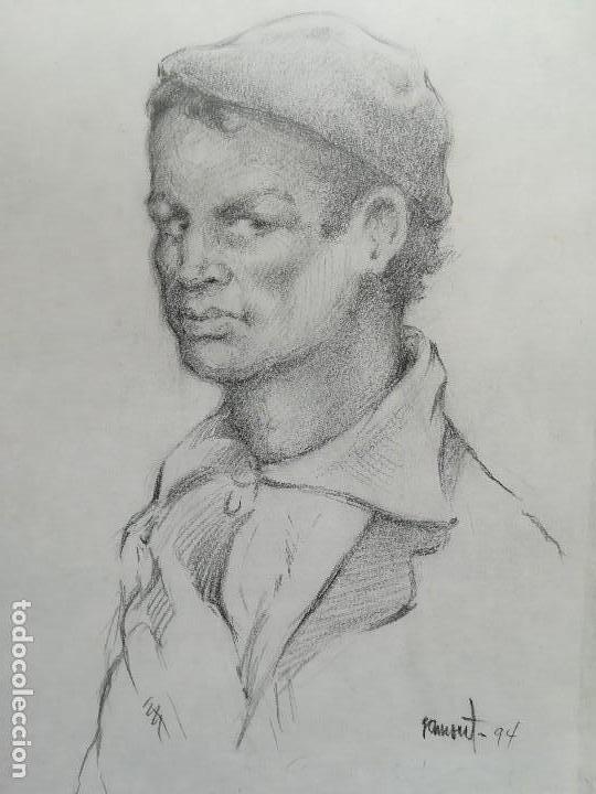 Arte: Dibujo de un pescador de Calella a carboncillo original Ramon Tomas - Foto 3 - 117286111
