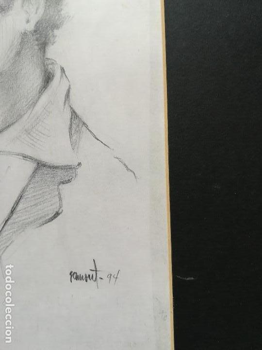 Arte: Dibujo de un pescador de Calella a carboncillo original Ramon Tomas - Foto 2 - 117286111