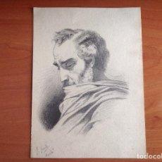 Arte: FÉLIX YUSTE. RETRATO DE PERFIL DE CABALLERO. PINTOR DE ALCALÁ DE HENARES.. Lote 117376295