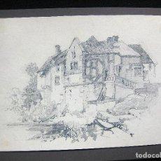 Arte: DIBUJO ORIGINAL FRANCIA 1840-50 SIGLO XIX PAISAJE RURAL CASA 22 X 28 CENTÍMETROS. Lote 117542903