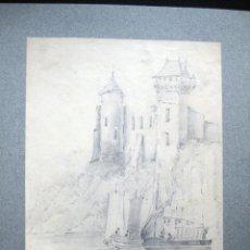 Arte: DIBUJO ORIGINAL FRANCIA 1840-50 SIGLO XIX CASTILLO BARCAS 27 X 22 CENTÍMETROS. Lote 117544703
