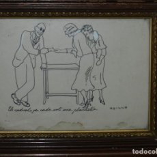 Arte: (M) DIBUJO ORIGINAL FIRMADO OPISSO , ENMARCADO , DIBUJO MIDE 23 X 17'5 CM, ENMARCADO 31 X 25 CM. Lote 117711855