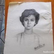 Arte: MUY INTERESANTE RETRATO DE SEÑORA // A CARBONCILLO FIRMADO PADILLA 58///. Lote 118195083