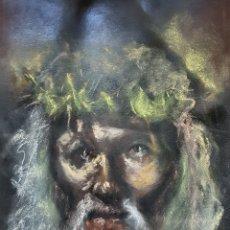 Arte: DIBUJO JESUCRISTO A PASTEL, SOBRE FONDO NEGRO, 33X50CM. Lote 118205422