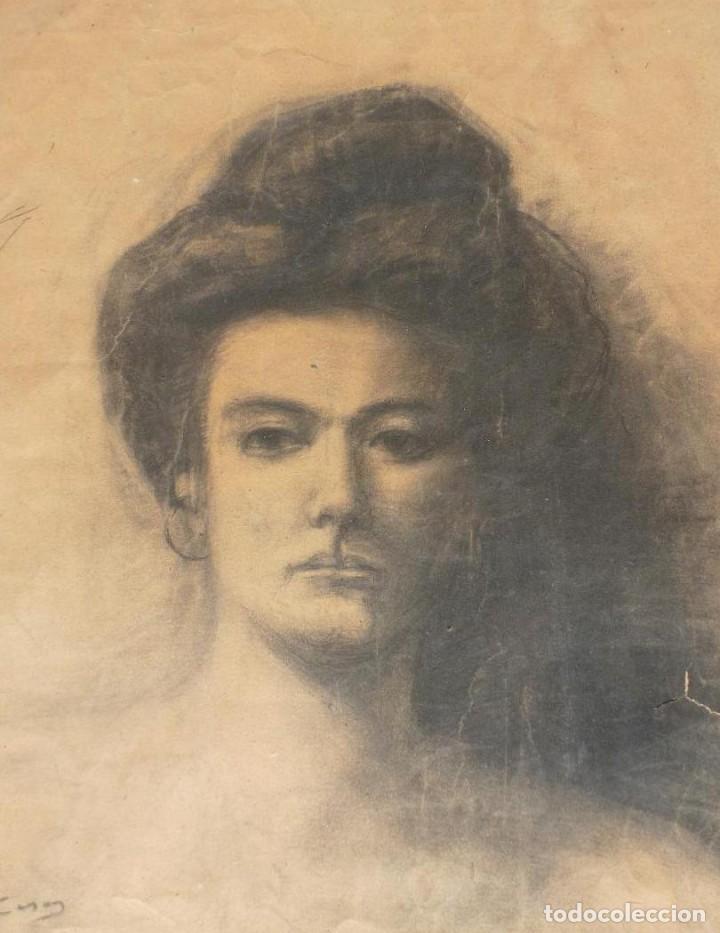 RETRATO DE MUJER. FIRMADO R. CASAS (RAMON CASAS ?) (Arte - Dibujos - Modernos siglo XIX)