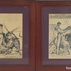 Arte: PAREJA DE DIBUJOS A TINTA SOBRE PAPEL. MANOLETE. ALCALDE MOLINERO. 1944. . Lote 118263179