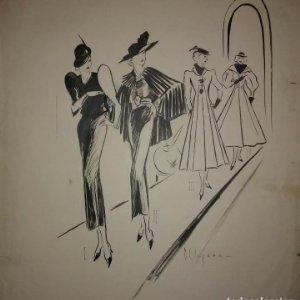 Original firmado Pere Clapera Argelaguer (1906-1984) Pasarela de moda