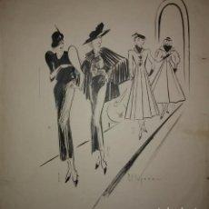 Arte: ORIGINAL FIRMADO PERE CLAPERA ARGELAGUER (1906-1984) PASARELA DE MODA 56X44. Lote 118265067