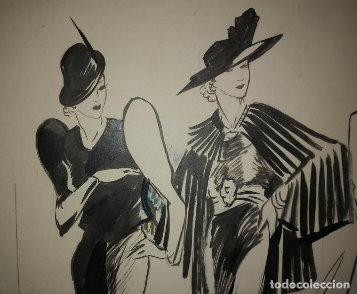 Arte: Original firmado Pere Clapera Argelaguer (1906-1984) Pasarela de moda 56x44 - Foto 2 - 118265067