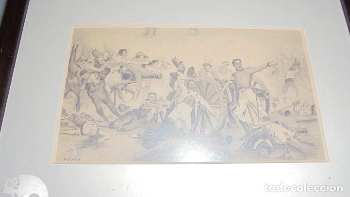 (M) ANTIGUO DIBUJO GUERRA DE LA INDEPENDENCIA LOS SITIOS DE ZARAGOZA FIRMADO PEYRA , ENMARCADO 27,5X (Arte - Dibujos - Contemporáneos siglo XX)