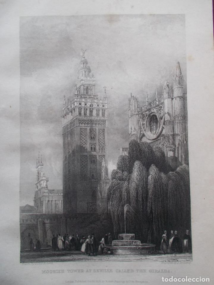 AÑO 1835 – LA GIRALDA DE SEVILLA - GRABADO AL ACERO ORIGINAL DE DAVID ROBERTS. (Arte - Dibujos - Modernos siglo XIX)