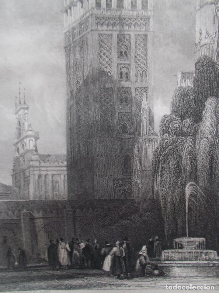 Arte: Año 1835 – La Giralda de Sevilla - grabado al acero original de David Roberts. - Foto 2 - 118350807