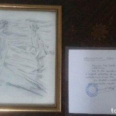 Arte: DIBUJO O BOCETO DEL PINTOR J.SORROLLA CERTIFICADO POR FRANCISCO PONS SORROLLA . Lote 118496803