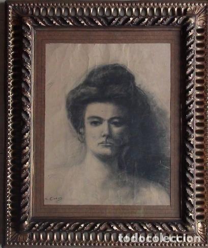 Arte: Retrato de mujer. Firmado R. Casas (Ramon Casas ?) - Foto 6 - 118236859