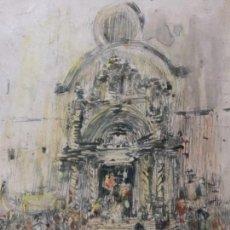 Arte: DIBUJO A TINTA, SALIDA IGLESIA IBIZA, FIRMADO IGNACIO GIL 1943. Lote 118606363