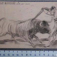 Arte: DIBUJO ORIGINAL A LAPICERO TEMATICA TAURINA MANOLO BIENVENIDA 1938. Lote 119053598