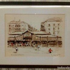 Arte: PEPE ANTEQUERA - TINTA ORIGINAL - MERCADO DEL ENSANCHE - BILBAO.. Lote 119149155