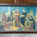 Arte: CUADRO PINTADO EN CERA DE LA DECAPITACIÓN DE LOS LIDERES COMUNEROS EN VILLALAR - ANTIGUO. Lote 119165651