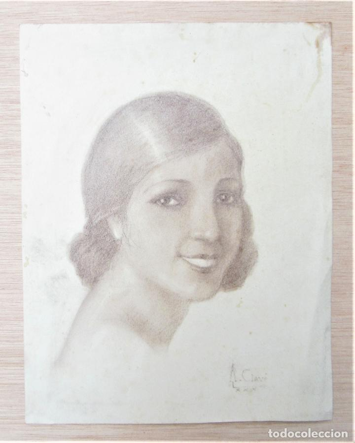 ANTONI CLAVÉ (1913-2005), ROSTRO MUJER, 1930, DIBUJO AL CARBONCILLO. 22,5X29CM (Arte - Dibujos - Contemporáneos siglo XX)
