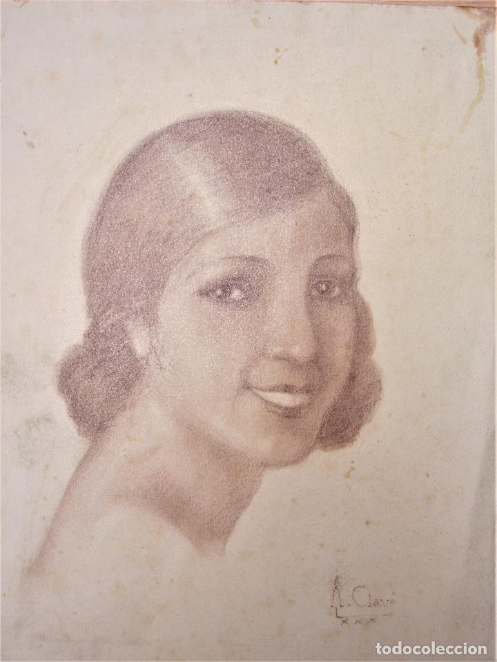 Arte: Antoni Clavé (1913-2005), rostro mujer, 1930, dibujo al carboncillo. 22,5x29cm - Foto 2 - 119185271