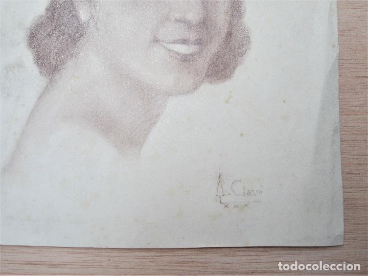 Arte: Antoni Clavé (1913-2005), rostro mujer, 1930, dibujo al carboncillo. 22,5x29cm - Foto 3 - 119185271