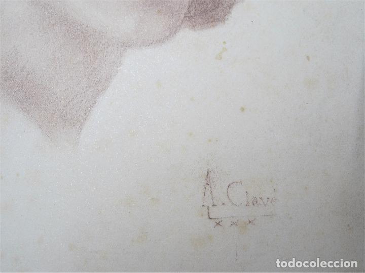 Arte: Antoni Clavé (1913-2005), rostro mujer, 1930, dibujo al carboncillo. 22,5x29cm - Foto 4 - 119185271