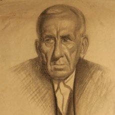 Arte: GRAN RETRATO, DIBUJO A CARBONCILLO DE MANUEL DE LUQUE. Lote 119262751