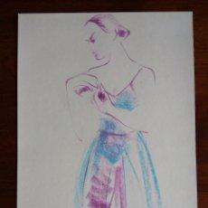 Arte: ANTONI VIVES FIERRO - BAILARINA - TECNICA MIXTA SOBRE PAPEL. Lote 119386315