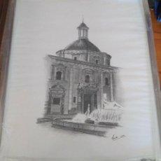 Arte: CUADRO AL CARBONCILLO CON MARCO,VISTA DEL TRIBUNAL DE LAS AGUAS DE VALENCIA.. Lote 119434415