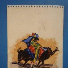 Arte: VICENTE BARRERA TOREANDO. HOJA DE LIBRETA CON DIBUJO A TINTA CHINA COLOREADO CON ACUARELA, 1942...... Lote 119538483