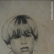Arte: DIBUJO, RETRATO, ROSTRO DE NIÑO. FIRMADO JORDI LLIBATRY O SIMILAR. AÑO 1984. Lote 119569347