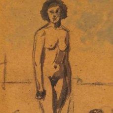 Arte: DIBUJO TINTA SOBRE PAPEL - CELSO LAGAR - FIRMADO + CATÁLOGO ( EL GENIO MIROBRIGENSE ). Lote 119645843
