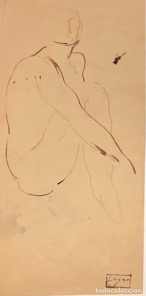 DIBUJO TINTA SOBRE PAPEL - CELSO LAGAR - FIRMADO + CATÁLOGO ( EL GENIO MIROBRIGENSE ) (Arte - Dibujos - Contemporáneos siglo XX)