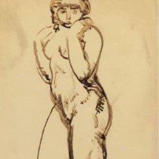 Arte: DIBUJO TINTA SOBRE PAPEL - CELSO LAGAR - FIRMADO + CATÁLOGO ( EL GENIO MIROBRIGENSE ). Lote 119654779
