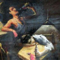 Arte: MURCIA VALCARCEL. TECNICA MIXTA SOBRE CARTULINA DE LOS AÑOS 70. INTERIOR CON PERSONAJES BEBIENDO. Lote 119846687