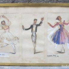 Arte: RAMON AGUILAR MORÉ (1924-2015), DIBUJO BAILARINES, EL ÁNGEL GRIS, 1956, TÉCNICA MIXTA. 55X34CM. Lote 119853027